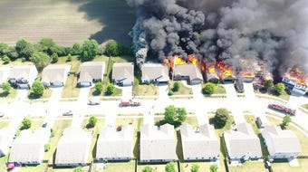 Five homes were destroyed Friday in Lindberg Village in West Lafayette, as seen in this drone footage.