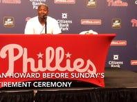 Ryan Howard speaks before Sunday's Phillies retirement ceremony