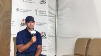Tony Romo talks to the media after his win Sunday at Edgewood Tahoe in the celebrity golf tournament