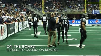 Newark's Grant Russell and Aaron Tiller of Licking Heights went head-to-head in an Arena Football League game at Nationwide Arena.