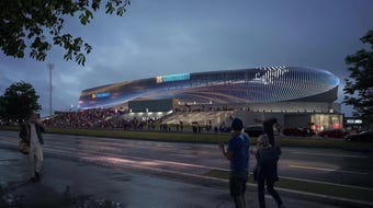 FC Cincinnati officials unveiled the final stadium design on July 16, 2019. See the LED lighting feature that will face east.