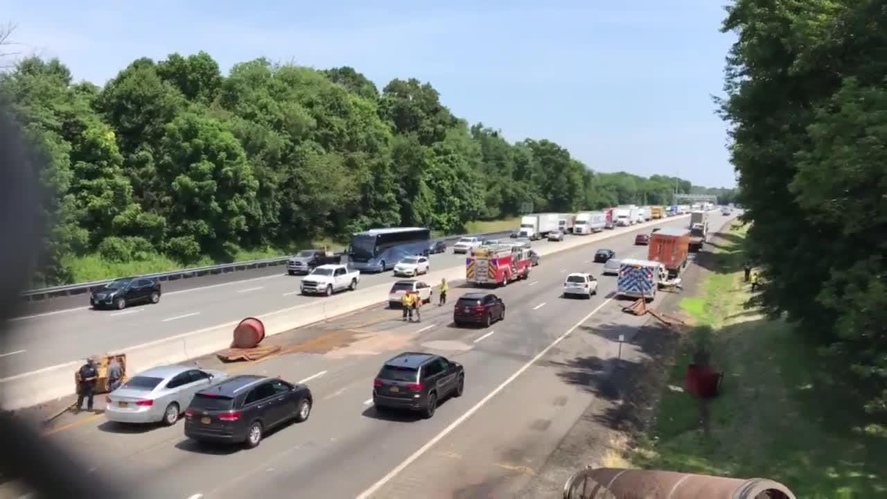 Crash on Thruway being cleaned up
