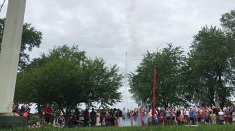 Rockets launch at the Community Commemorative Rocket Launch for the 50th anniversary of the Apollo 11 landing.  July 16, 2019.