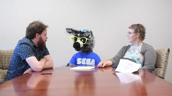 The beloved coyote from Gigglebees kept Argus Leader reporters laughing during his interview in the Argus Leader newsroom.