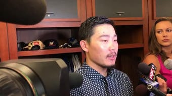 Keston Hiura doubled three times, tripled once, homered once and drove in four runs in three games against the Braves. Here's what he had to say.