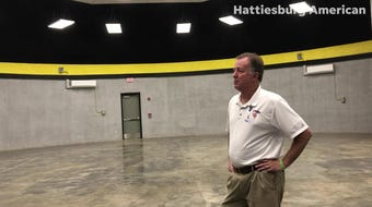 Mike Papas, director of Forrest County School District auxiliary services, explains the need for each school to have a tornado safe room.