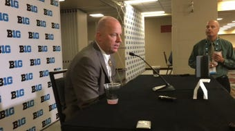 Purdue coach Jeff Brohm takes reporters questions at Big Ten Media Day