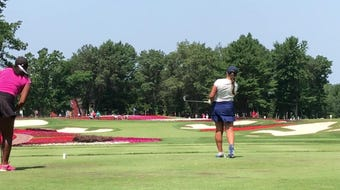Jo Baranczyk hits her tee shot on the Flower Hole (No. 16) at SentryWorld during the second round of the U.S. Girls Junior Championship.