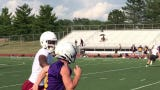 Bloom-Carroll quarterback completes a long touchdown pass against Canal Winchester during 7-on-7 passing scrimmage.