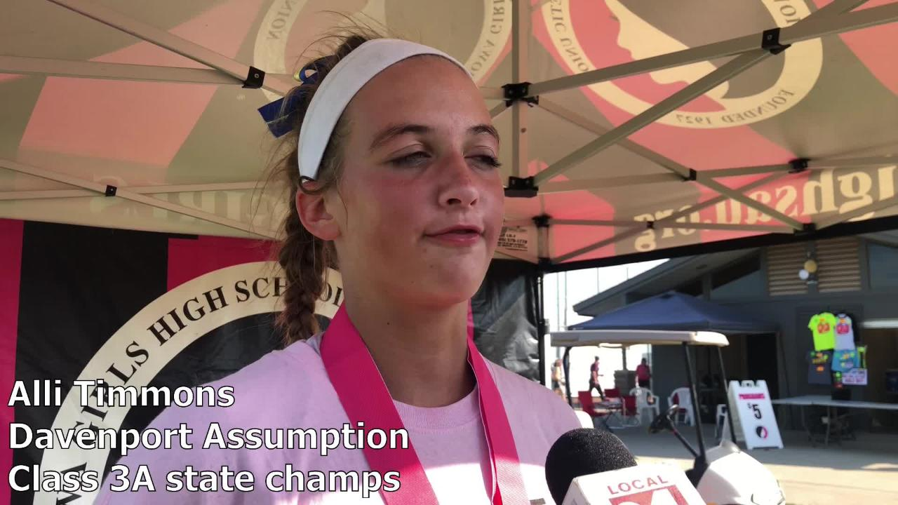 Alli Grimes state softball: assumption defeats louisa-muscatine for