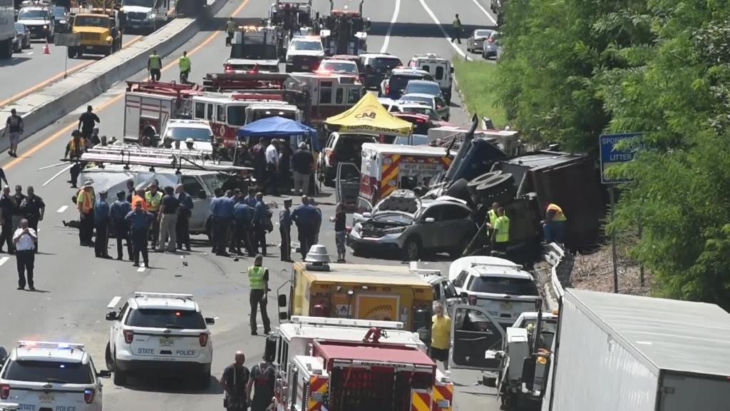 Route 280 NJ dump truck crash two NJ troopers expected to