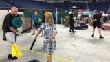 Challenge a friend in Forged Foam's sword-fighting arena. Located in Lucas Oil Stadium, the booth lets you take part in a single battle or tournament.
