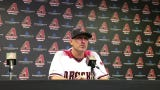 Diamondbacks manager Torey Lovullo answers questions following his team's 7-3 loss to the Phillies.