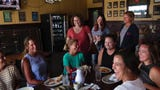 West Side moms gather for laughs, tears and drinks at Lamascos after dropping their children off for their first day of school.