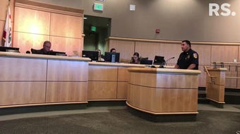 Shasta County Fire Chief Bret Gouvea talks at the Aug. 13, 2019, Board of Supervisors meeting about the proposed defensible space rules.