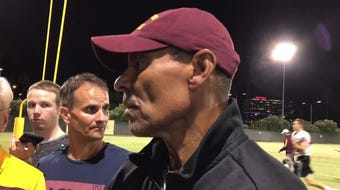 Arizona State football coach Herm Edwards discusses his team's situational work during practice Tuesday night.