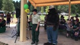 An introduction for Bill Tucker at the 75th Smokey Bear celebration. Tucker is now retired from the Smokey Bear RAnger District.