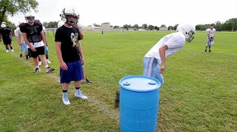 A video of scenes at Manitowoc area football team practices this week.