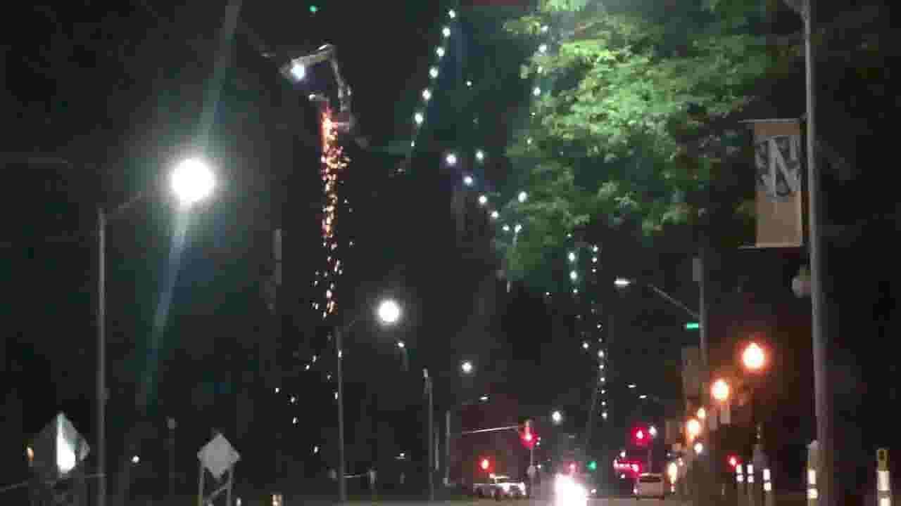 Sparks fly from Ambassador Bridge during maintenance