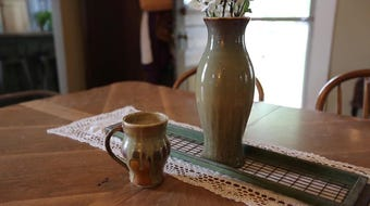 Tom Guell looks to cash in on pottery making  hobby by selling what he makes.