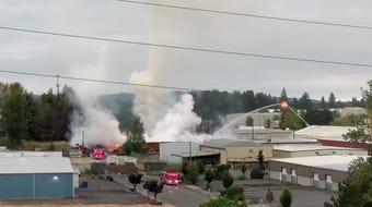 Crews battled a four-alarm blaze at Oregon Pallet early Monday morning.
