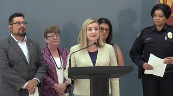 Phoenix Mayor Kate Gallego on Aug. 19, 2019, announces that all Phoenix patrol officers will wear body cameras in an effort to step up law-enforcement accountability and transparency.
