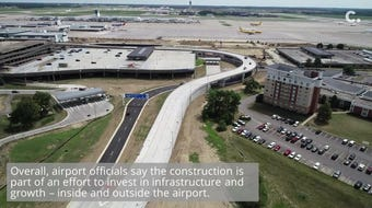 The construction is part of a larger project that will lead to a new rental-car facility by the terminal.