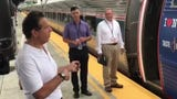 Gov. Andrew Cuomo talked to reporters as he boarded a train from Albany to the State Fair in Syracuse on Wednesday, Aug. 21, 2019.