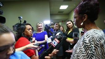 Deborah Marion, mother of Lorenzen Wright, speaks after Turner's trial delay