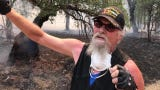 Jones Valley, California, resident, Dale Mote, talks about the what he had to do to protect his property as flames approached.