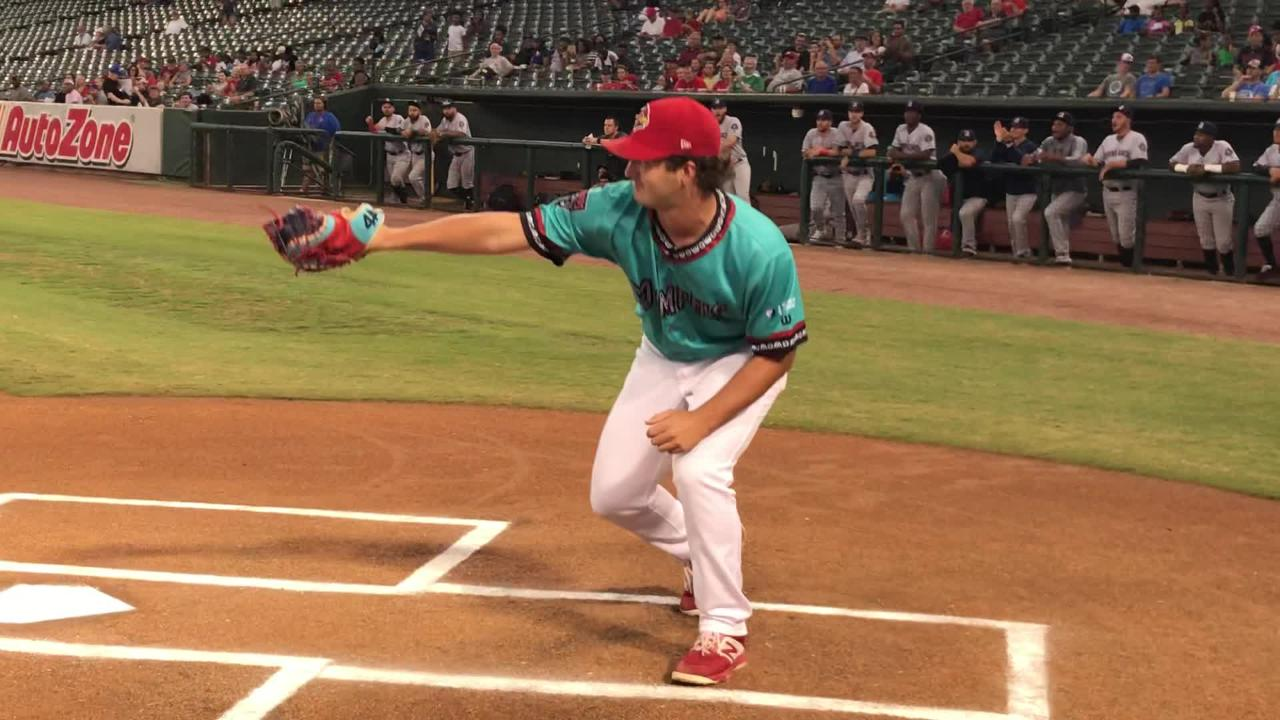Ja Morant displays lively arm during ceremonial first pitch at Memphis Redbirds game