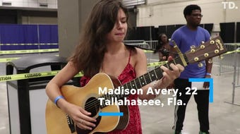 Singers from across the country warm up their vocal cords before auditioning for American Idol.