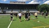 Coaches lead drills as Corning practices Aug. 21, 2019 at Corning Memorial Stadium.