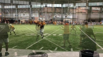 Tennessee practiced indoors on Friday afternoon.