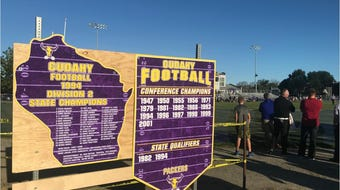 Coach Carey Venne talks about Cudahy's 1994 state championship team, which celebrated the 25th anniversary of that season Friday.