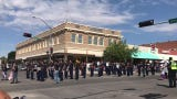 The Deming High School Wildcat Marching Band at the Tournament of Ducks Parade in Deming, NM