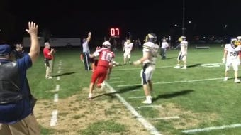 Lebanon's Isaiah Rodriguez hits Andrew Bowers with a 12-yard TD pass with five seconds left to give Lebanon a 14-9 win over Elco.