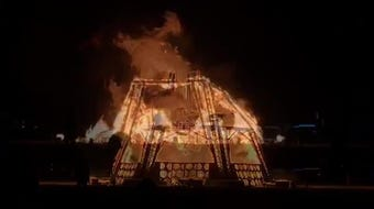 The man goes up in flames on Saturday, Aug. 31 on the Black Rock Desert playa for Burning Man 2019.