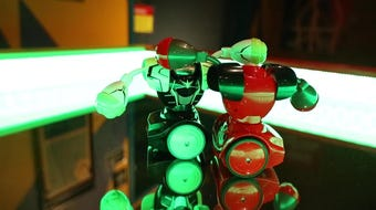 Battle robots on display Wednesday at the discovery center will be just one type of battle robot available for adults to try as part of a Night at the Museum fundraiser on Saturday.