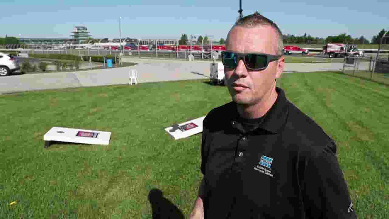 He was 30 and almost died playing cornhole at IMS; now he's back at track