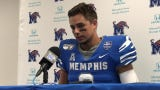Memphis quarterback Brady White speaks to the media after Saturday's 55-24 win over Southern University.