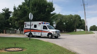 An ambulance leaves Springfield Farms on Farm Road 156 in Greene County Tuesday, Sept. 10, 2019.