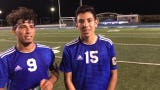 Carlsbad's Jesus Zamora and Nate Martinez discuss their 5-0 win against Goddard on Sept. 10, 2019. Zamora scored three goals and Martinez had two.