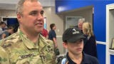 Sgt. 1st Class Brad Marrero didn't tell his son he'd be home early from a deployment in Kuwait. The father of 3 surprised Brad Marrero Jr. at school.