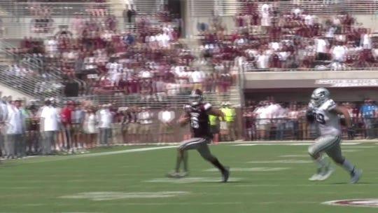 Mississippi State QB Garrett Shrader spins like a helicopter after collision