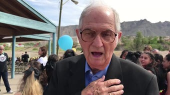 Ex-Coronado High Principal Charles Murphree tells of his students' success Sept. 13, 2019, at groundbreaking for the Charles Q. Murphree PK-8 School.