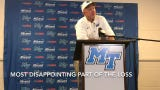 MTSU coach Rick Stockstill talks to the media following MTSU's 41-18 loss to Duke.