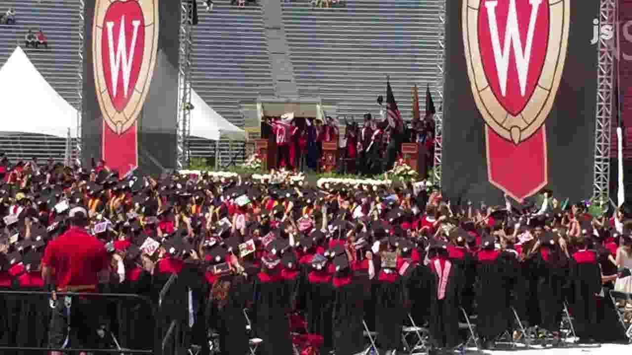 Jump Around During Spring 2017 Commencement At Uw Madison