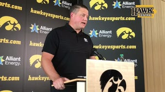 Iowa offensive coordinator Brian Ferentz met the media during the bye week with the Hawkeyes owning a 3-0 record.