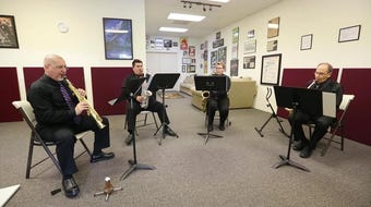 """Sax du Soleil, a professionalsaxophone quartet, rehearsals for their inaugural performance at a studio on Saturday, September 14, 2019, in North Naples. They will perform as the opening concert of the Naples United Church of Christ """"Ministry with Music"""" series on Oct. 5."""